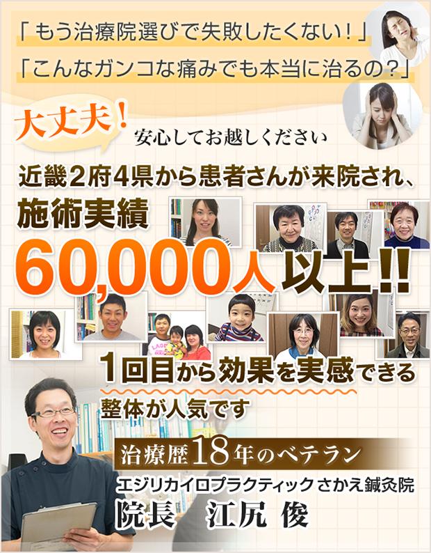 近畿2府4県から患者さんが来院され、60,000人以上!